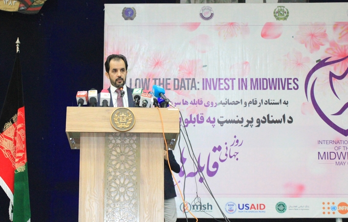 Acting Minister of Public Health, Dr. Wahid Majroh appreciated the work of Afghan midwives - © Zaeem Abdul Rahman/UNFPA Afghanistan
